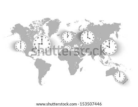 Vector vintage world Map background with clocks  - stock vector