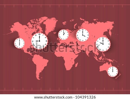 Vector vintage world Map with time zones - stock vector