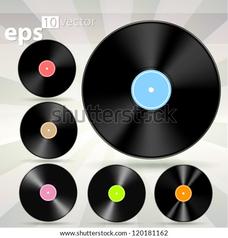 Vector vinyl cd disk icons, eps10 illustration clip art - stock vector