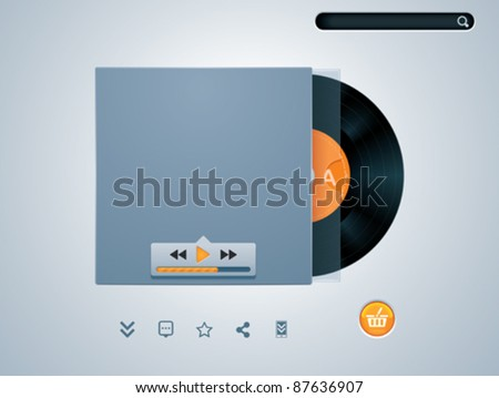 Vector vinyl disk in envelope music player template - stock vector