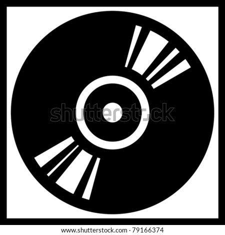 Vector vinyl disk record  illustration isolated - stock vector