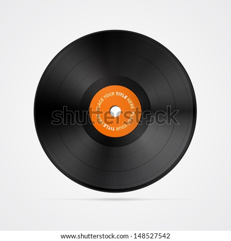 Vector Vinyl Record Disc Isolated on White Background - stock vector