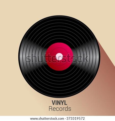 Vector vinyl record icon. - stock vector