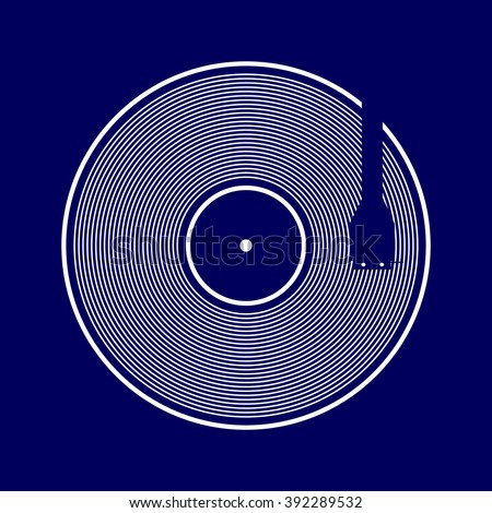 Vector vinyl records on blue background. Modern illustration for various creative projects
