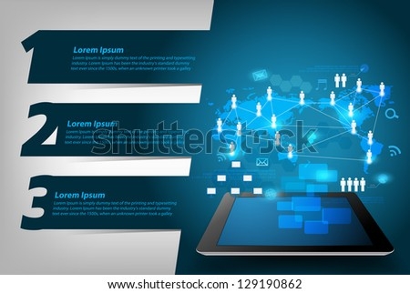 Vector virtual business network process diagram on tablet PC, With Modern Design template / infographics / numbered banners - stock vector