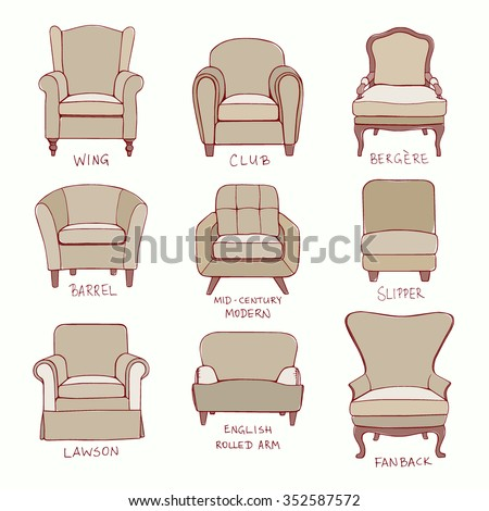 Vector Visual Guide Of Accent Chair Design Styles Hand Drawn Set Made In Linear