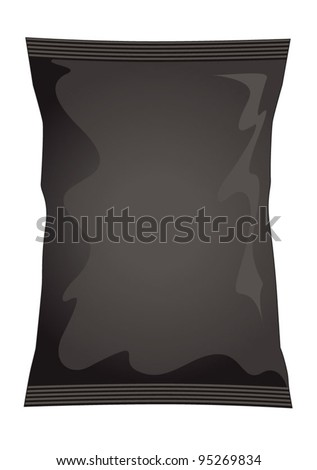 Vector visual of black dark foil / plastic / paper bag / packet / packaging for beef, chicken or meat flavour potato crisps / potato chips or chocolate / candy / sweets - stock vector