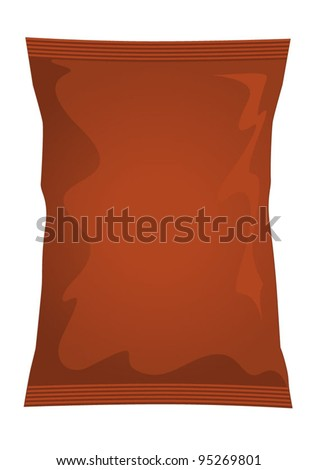 Vector visual of brown foil / plastic / paper bag / packet / packaging for beef, chicken or meat flavour potato crisps / potato chips or chocolate / candy / sweets - stock vector