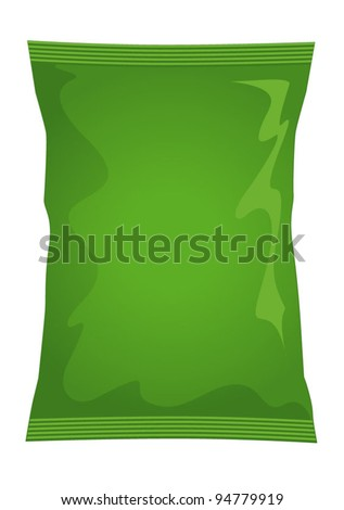 Vector visual of green foil / plastic / paper bag / packet / packaging for salt & vinegar or cheese & onion flavour potato crisps / potato chips or chocolate / candy / sweets - stock vector
