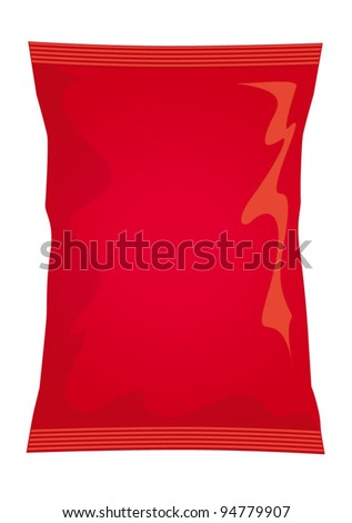 Vector visual of red foil / plastic / paper bag / packet / packaging for plain / ready salted flavour potato crisps / potato chips or chocolate / candy / sweets - stock vector