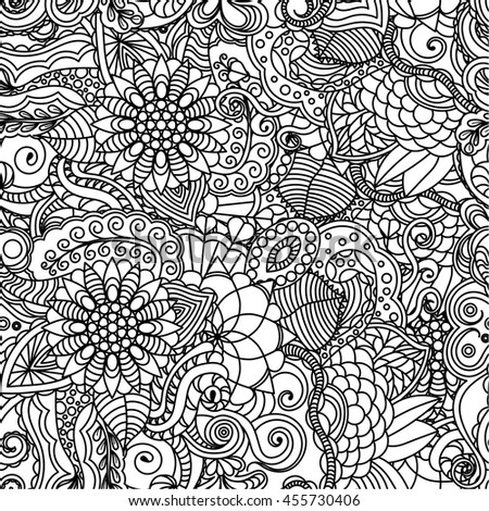 Vector Vivid Seamless Abstract Hand Drawn Pattern With Plants For Coloring Book Wave Patterns Seamlessly
