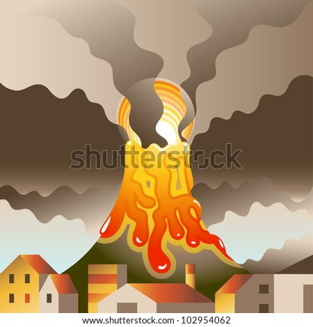 Vector volcanic eruption threatens to destroy the nearby populated area - stock vector