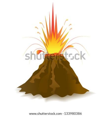 Vector volcano - stock vector