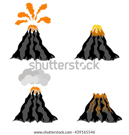 Vector Volcano Erupting Icons Isolated on White Background. Peak of Mountain. Fiery Crater of Volcano. - stock vector