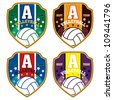 Vector volleyball badge / Vector volleyball labels / volleyball emblems - stock vector