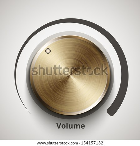 Vector volume knob with gold texture - stock vector