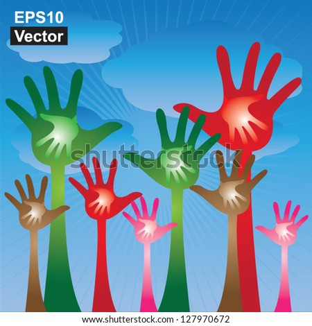 Vector : Volunteer Or Family Concept Present By Colorful Adult Hand With Colorful Child Hand Inside in Blue Sky Background - stock vector