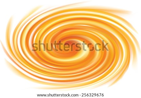 Vector vortex ripple radial backdrop with space for text. Beautiful curl fluid surface bright hot yellow color. Eddy mix of juicy fresh sweet carrot, apricot and lemon dessert syrup  - stock vector