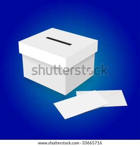 vector vote box with envelope - stock vector