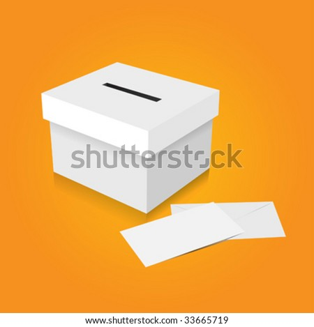 vector vote box with envelope - stock vector