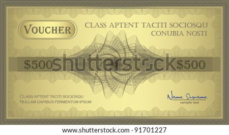 vector Voucher gold Guilloche coupon certificate template security spirograph - stock vector