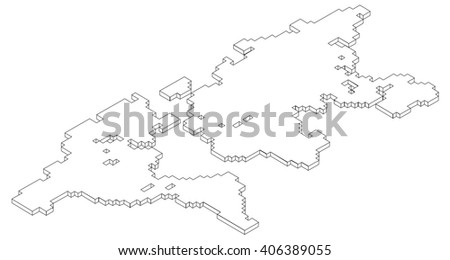 Vector voxel isometric world map contour stock vector 2018 vector voxel isometric world map contour gumiabroncs Images