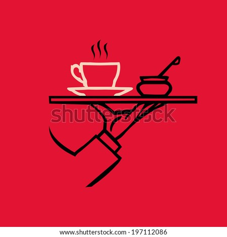 vector waiter's hand with tray and tea or coffee - stock vector