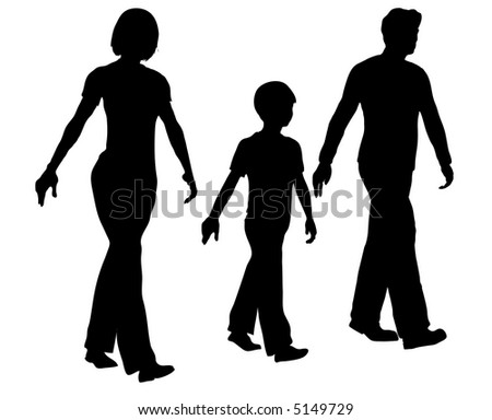 vector walking family