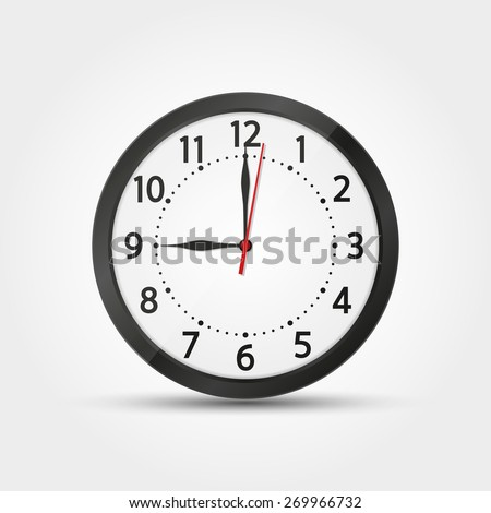 Vector wall analog clock black dark 12 hours real realistic second minute hour - stock vector