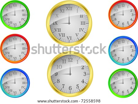 Vector wall clock set