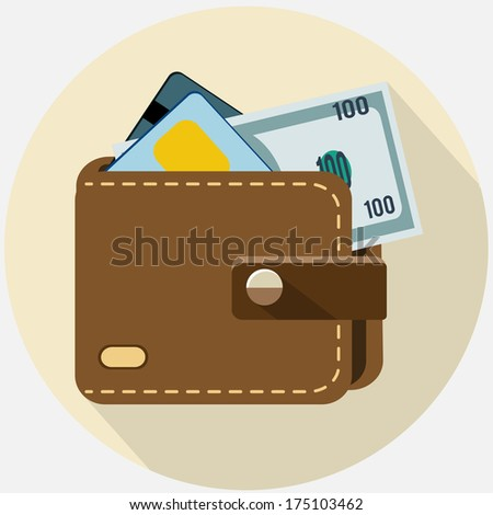 Vector wallet with card  and  money - stock vector