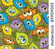 Vector wallpaper with cartoon colored birds - stock vector