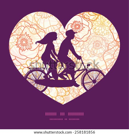 Vector warm flowers couple on tandem bicycle heart silhouette frame pattern greeting card template