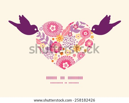 Vector warm summer plants birds holding heart silhouette frame pattern invitation greeting card template - stock vector
