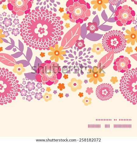Vector warm summer plants horizontal frame seamless pattern background