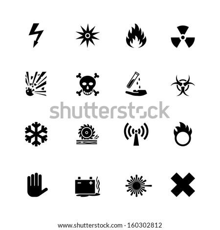 vector warning hazard signs set - stock vector