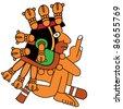 Vector warrior in style of the Maya - stock vector