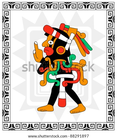 Vector warrior in style of the Maya on white - stock vector