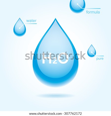 Vector water drop. Water formula. - stock vector