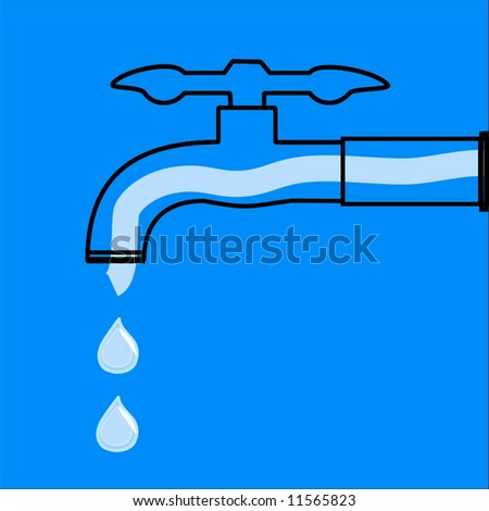 Vector Water Drops And Faucet - stock vector