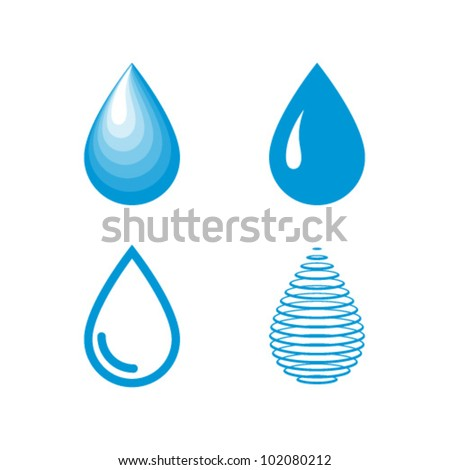 Vector Water Drops Icon Set - stock vector
