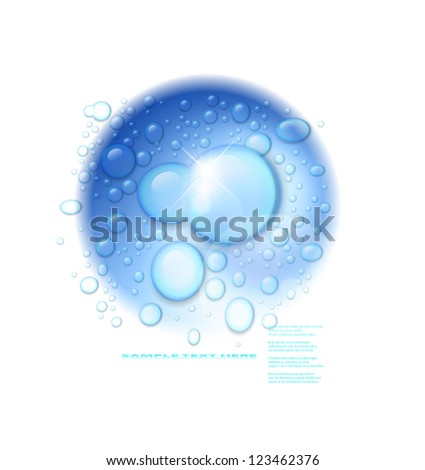 Vector water drops on blue wave background. - stock vector