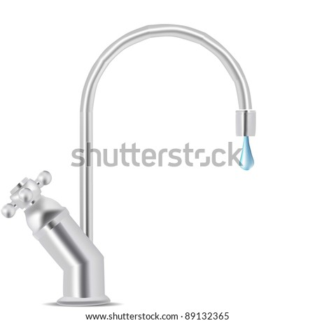 Vector Water Tap Dripping - stock vector