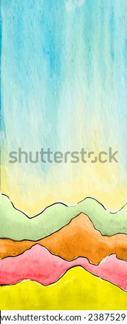 Vector watercolor abstract defocused background with mountains. Design template with place for your text. Can be used for web pages, identity style, printing, invitations, banners - stock vector