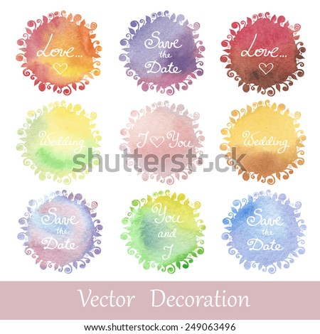 Vector watercolor and stylized frames in the center of which place for your text. Hand drawn frames for use in design, in the invitation and wedding cards. Save the date