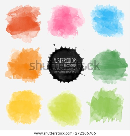 Vector watercolor background. Real watercolor texture. Watercolor splashes and dots texture. Artistic handdrawn background. - stock vector