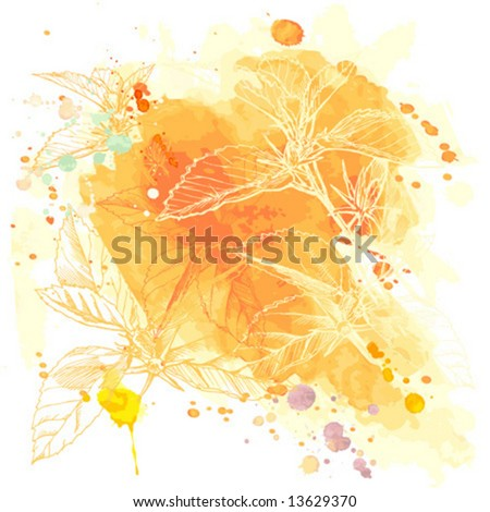 Vector Watercolor Background & Tropical Flowers - Hibiscus - stock vector