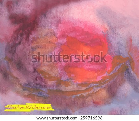 Vector watercolor background with grunge texture - stock vector