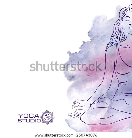 Woman sketch silhouette sitting in the lotus yoga pose stock vector