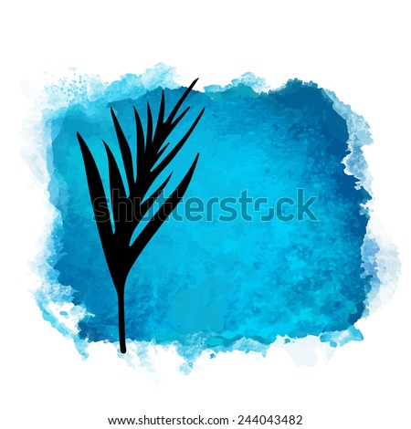 Vector watercolor blue grunge geometric square paint stain with splash and hand drawn palm branch with leaves closeup black silhouette. Painted frame design. Bright colors. Abstract art - stock vector